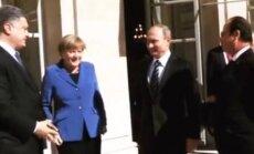 Petro Porošenka, Angela Merkel, Vladimiras Putinas, Francois Hollande'as