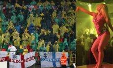 Anglijos fanai Vilniuje, šokėja