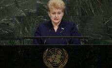 Dalia Grybauskaitė sako kalbą Jungtinėse Tautose