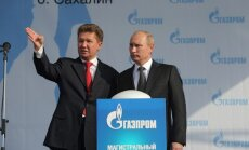 Gazprom vadovas Aleksejus Milleris ir Vladimiras Putinas