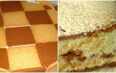 Nekeptas varškės ir sausainių pyragas, kuriam neatsispirsite