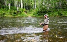 Žvejys medžioja lašišas