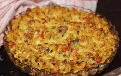 Makaronų apkepas su mėsa ir paprika