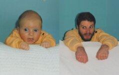 ĮSPŪDINGA: broliai atkartojo savo vaikystės fotografijas FOTO