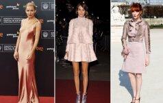 Žvaigždių stiliaus pamokos: kaip dėvėti pudros atspalvio drabužius