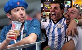 Prancūzijos ir Argentinos futbolo fanai