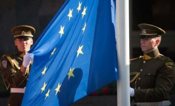 European Union flag raising ceremony in Vilnius