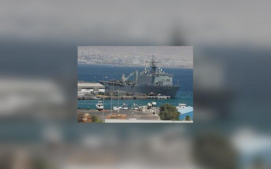 JAV laivas Aqabos uoste