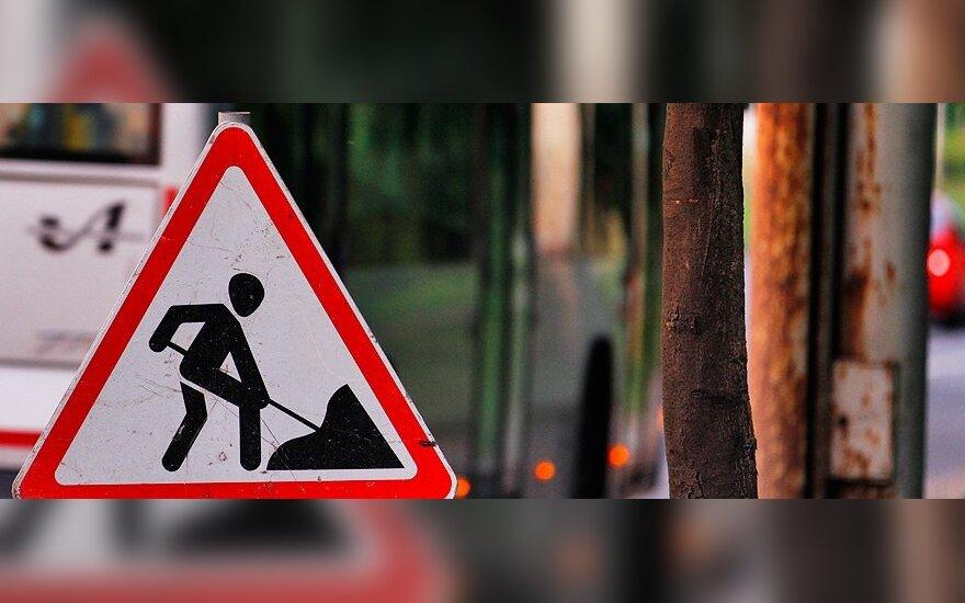 Вильнюсские водители сталкиваются с проблемами на ремонтируемом участке дороги