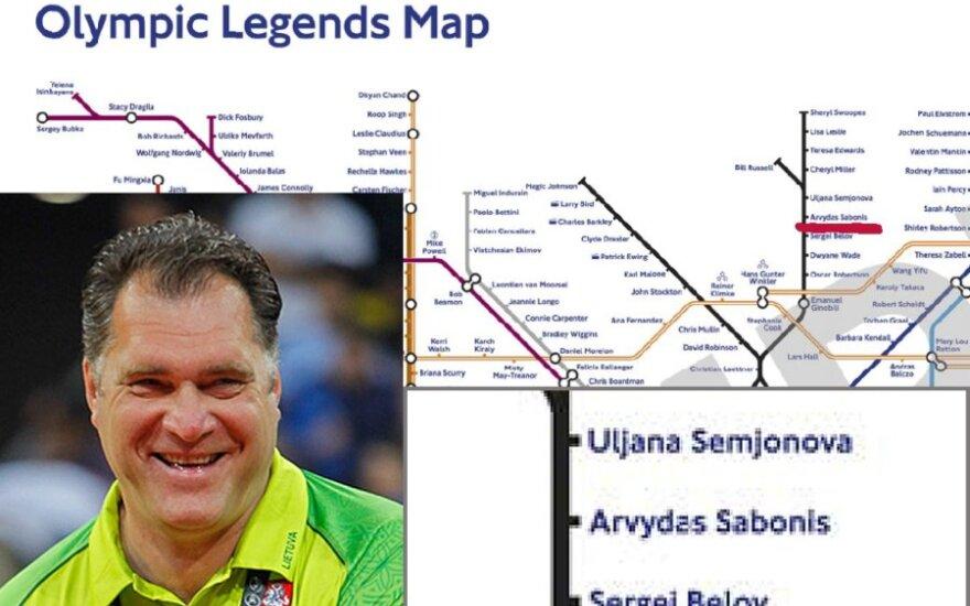 Arvydo Sabonio vardu simboliškai pavadinta viena Londono metro stotis