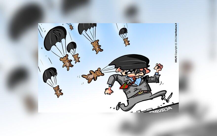 Baltarusija, Lukašenka, pliušiniai meškiukai, karikatūra
