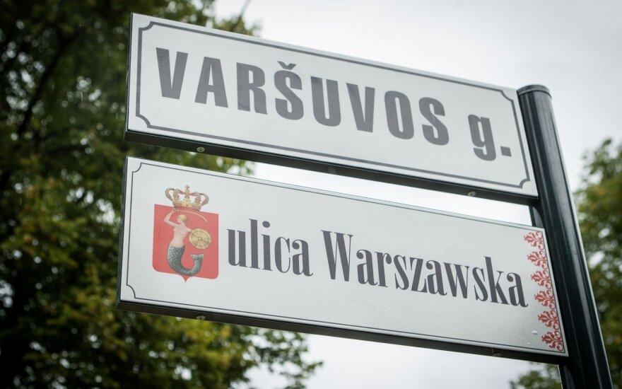 Warsaw str. sign in Polish in Vilnius