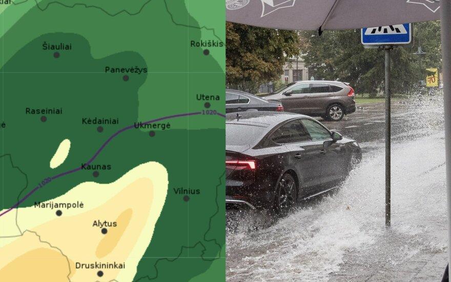 В среду в Литве прогнозируют сильный ливень