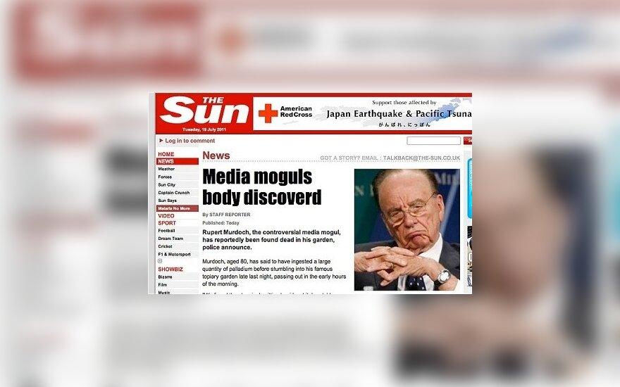 """Įsilaužėliai """"The Sun"""" svetainėje paskelbė: Rupertas Murdochas negyvas"""