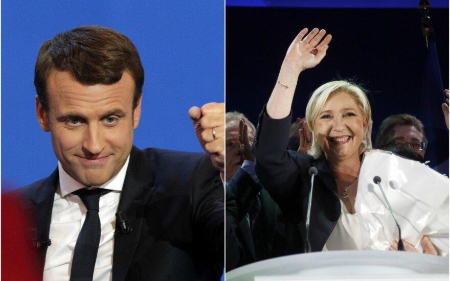 E. Macronas ir M. Le Pen