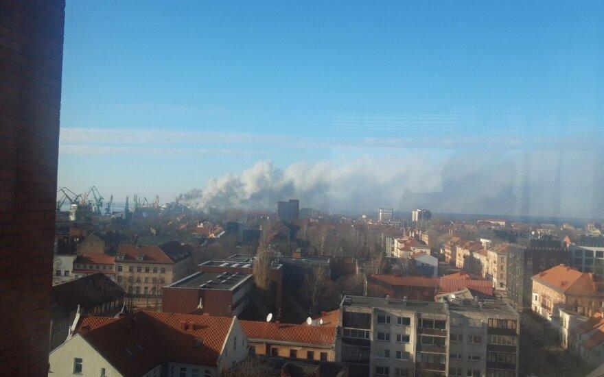 В Клайпеде, на территории KLASCO, начался пожар