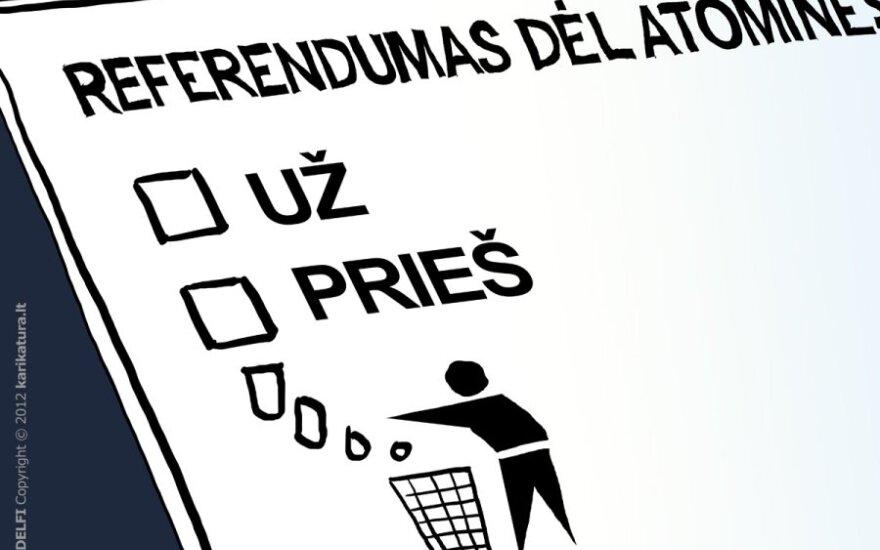 Referendumas, referendumas dėl AE, referendumas dėl atominės, karikatūra