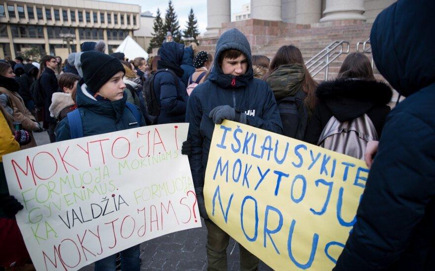 У здания парламента Литвы протестуют школьники