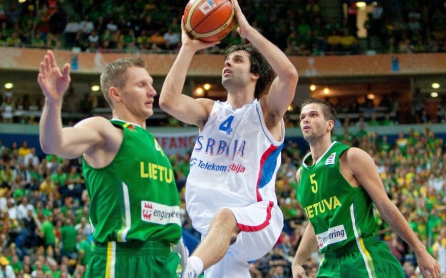 На арене Siemens проходит матч между сборными Литвы и Сербии