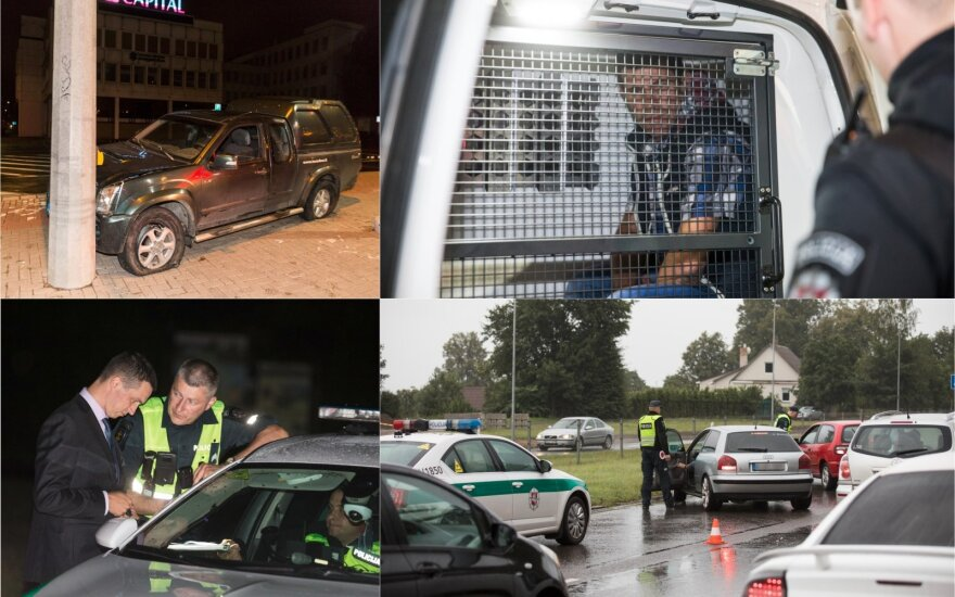 Ночной рейд в Вильнюсе: проверка прияных водителей и авария