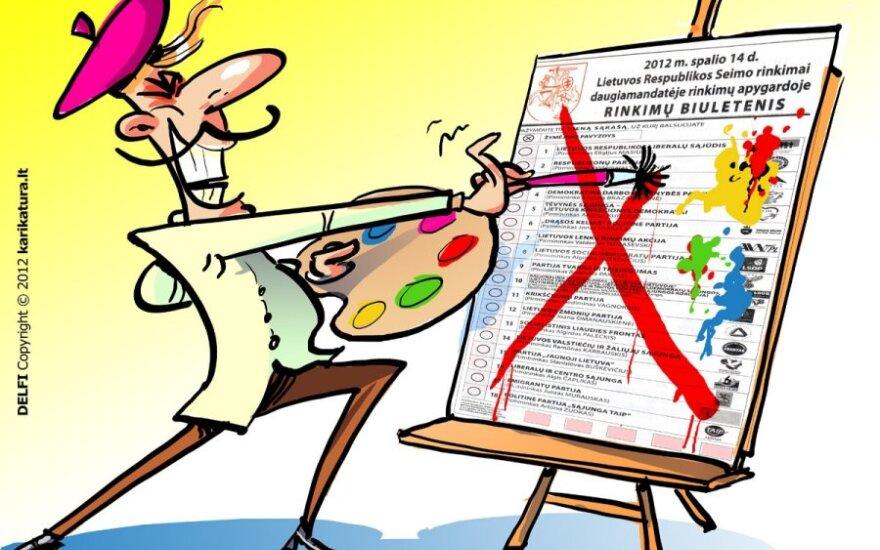biuletenių klastojimas, Seimo rinkimai, biuletenis, karikatūra