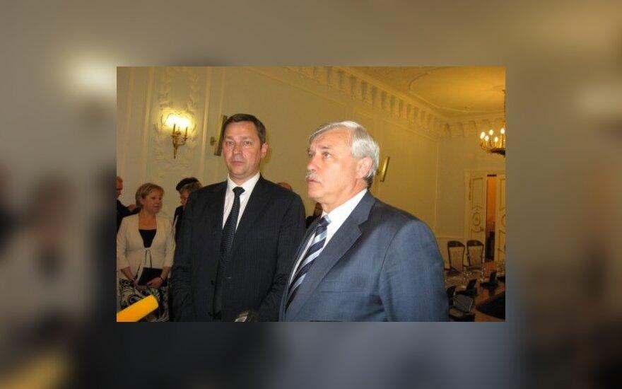 Vilniaus meras A. Zuokas ir Sankt Peterburgo gubernatorius G. Poltavčenka.