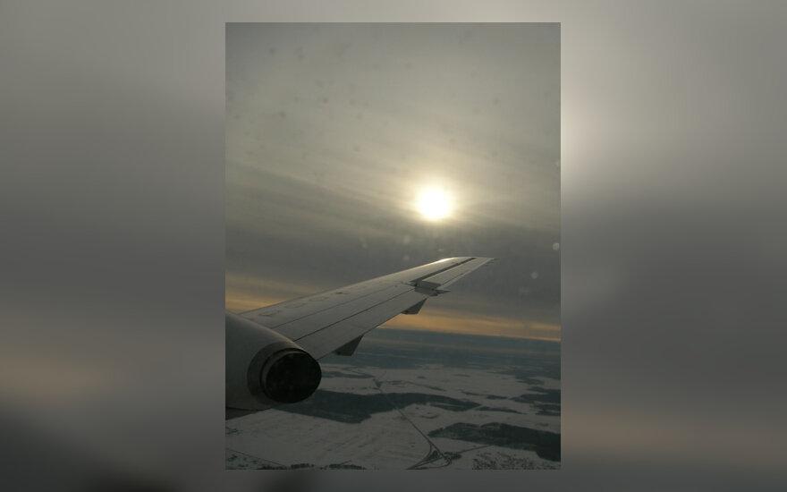 Lėktuvas, sparnas, skrydis, dangus, saulė
