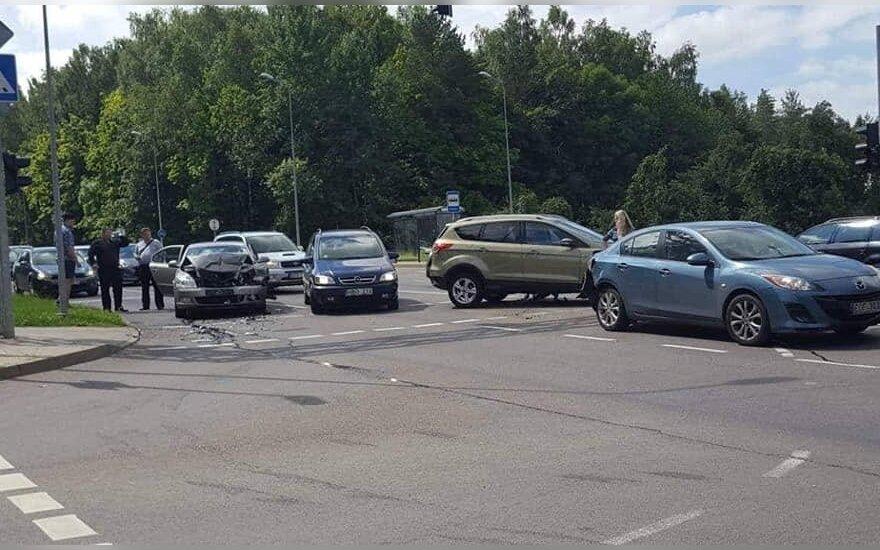 В Вильнюсе произошло ДТП с участием 4 автомобилей