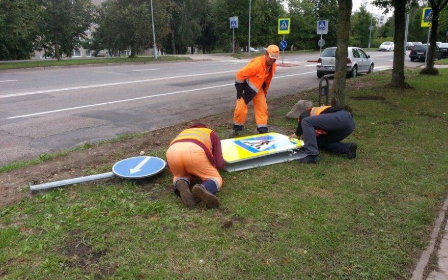 В Вильнюсе во время открытия нового перехода в него врезался автомобиль