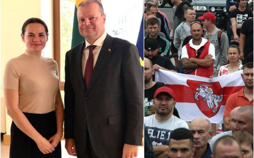 Saulius Skvernelis susitiko su iš Baltarusijos pasitraukusia Sviatlana Cichanouskaja