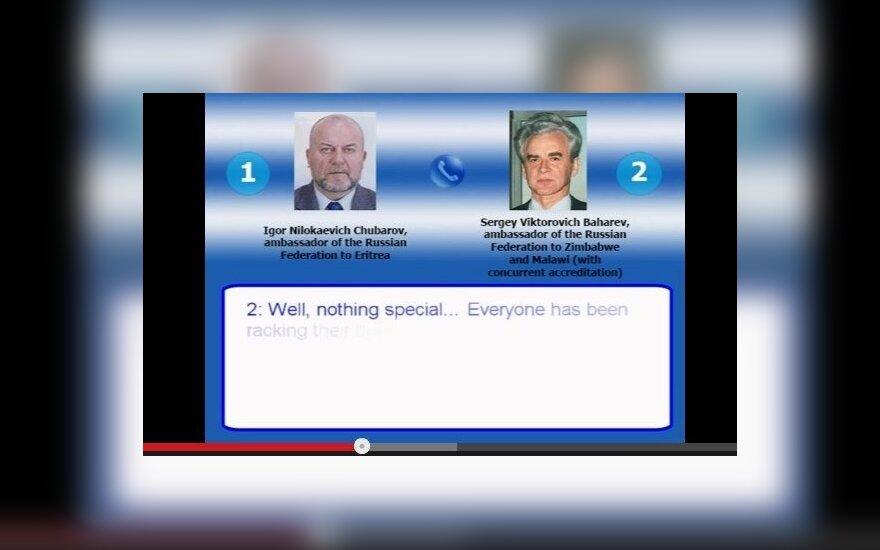 Rusijos ambasadoriai Igoris Chubarovas ir Sergejus Baherevas kalba telefonu