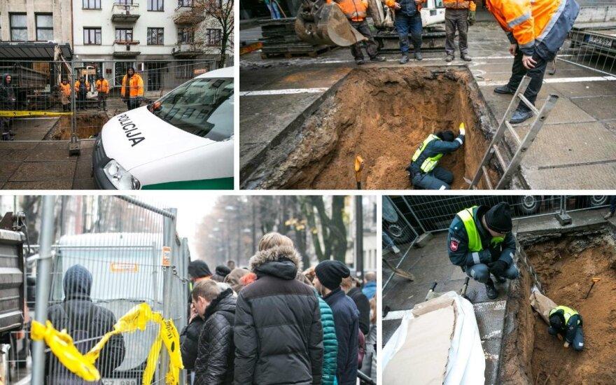Под тротуаром в Каунасе обнаружили человеческие кости