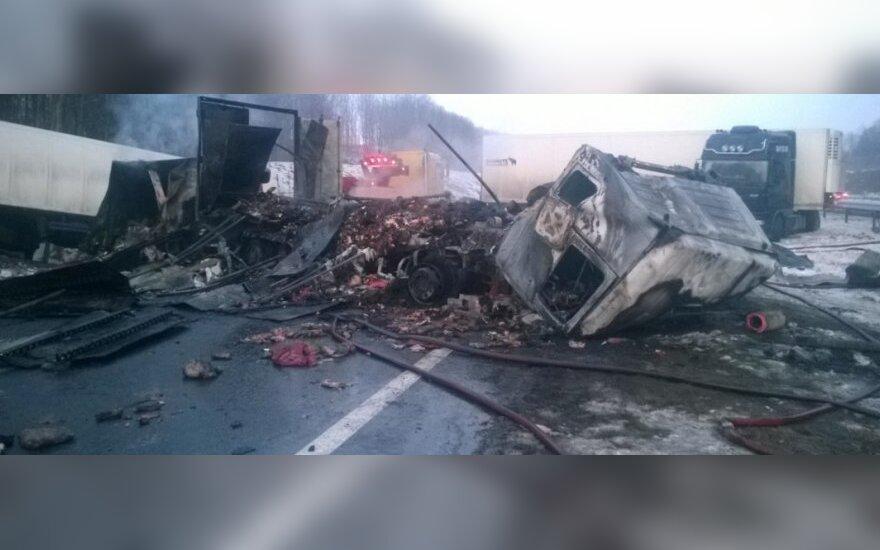 Страшная авария на автостраде: столкнулись четыре грузовика