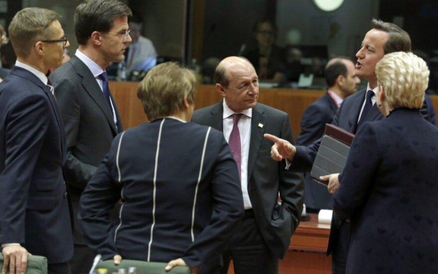 Iš kairės : Suomijos ministras pirmininkas Alexanderis Stubbas, Vokietijos ministras pirmininkas Markas Rutte, Latvijos ministrė pirminkė Laimdota Straujuma, Rumunijos Prezidentas Traianas Basescu, Didžiosios Britanijos ministras pirmininkas Davidas Camer