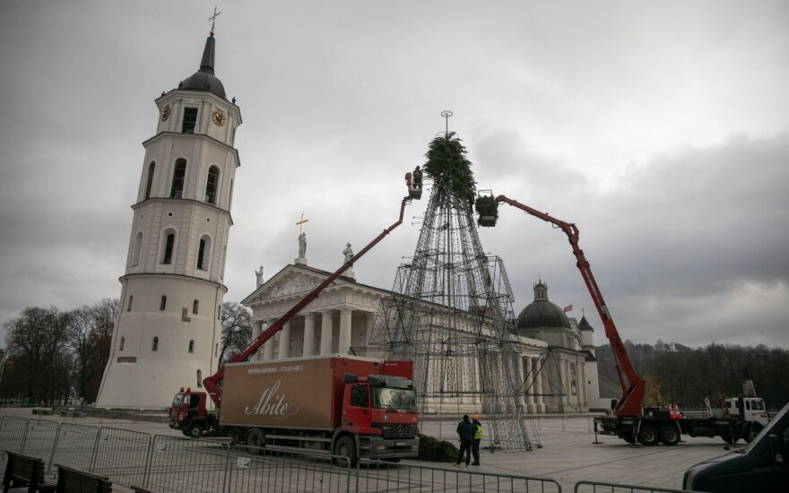 На Кафедральной площади столицы уже украшают рождественскую елку