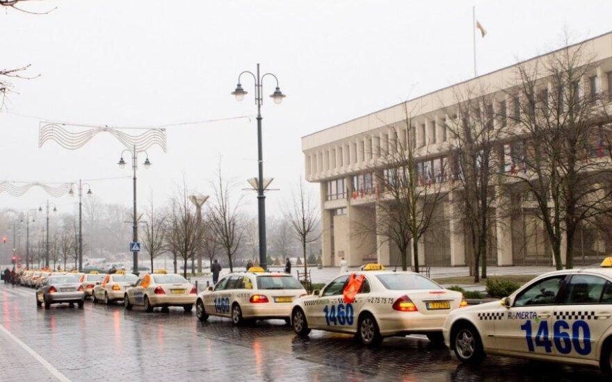 В центре Вильнюса - протест таксистов