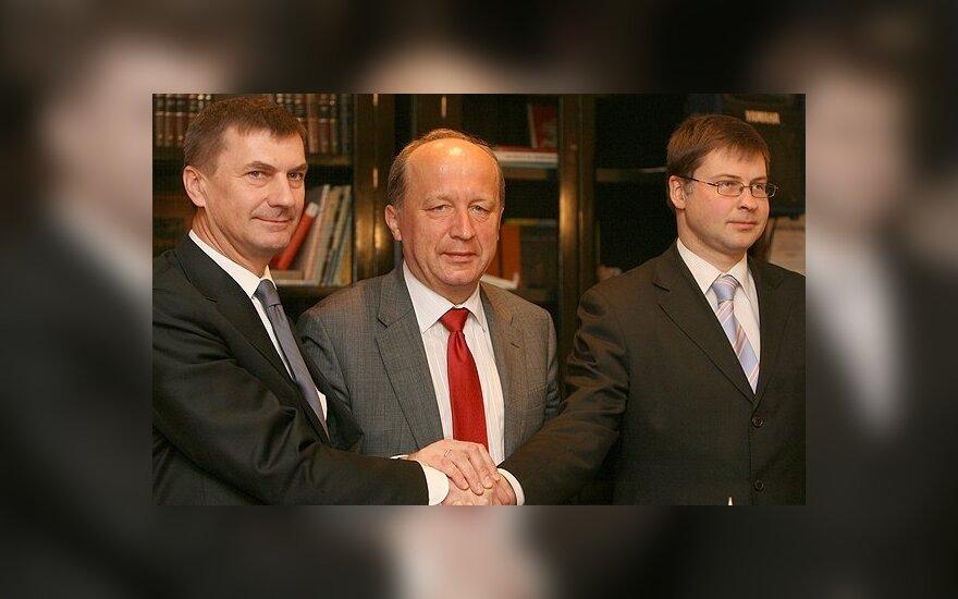 Andrus Ansipas, Andrius Kubilius, Valdis Dombrovskis (iš kairės į dešinę)