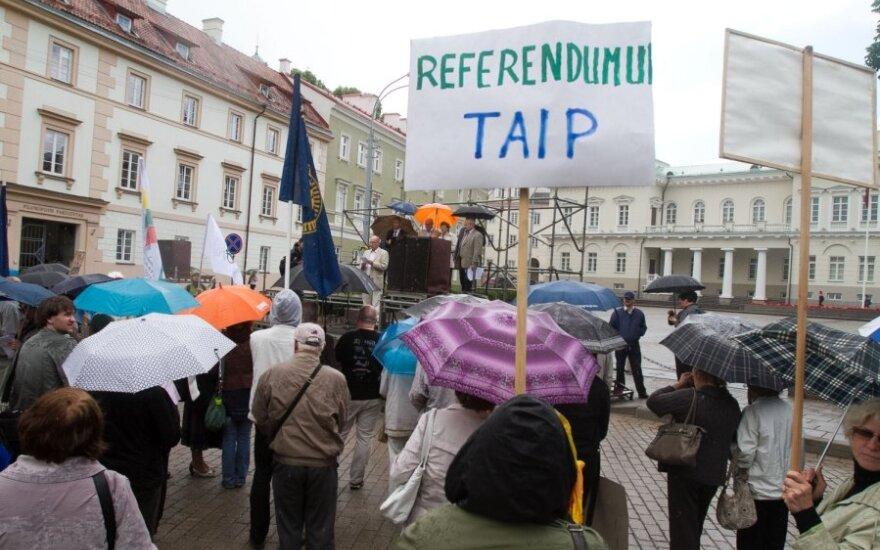 У президентского дворца протест критиков АЭС и сторонников Венцкене