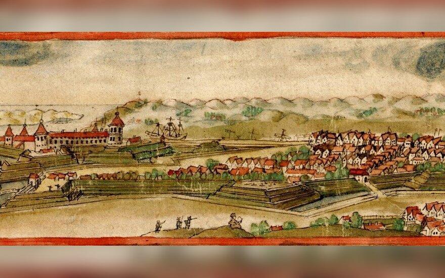Klaipėdos miesto panorama, nupiešta viršutiniame 1674 m. Klaipėdos didžiojo valsčiaus žemėlapio kampe. Piešė lietuvis kartografas Juozas Narūtavičius (jozef Naronowicz–Naronski 1610/1615–1678). Jame atpažįstamas kvartalas su Kanto šeimos namu ir senoji vo