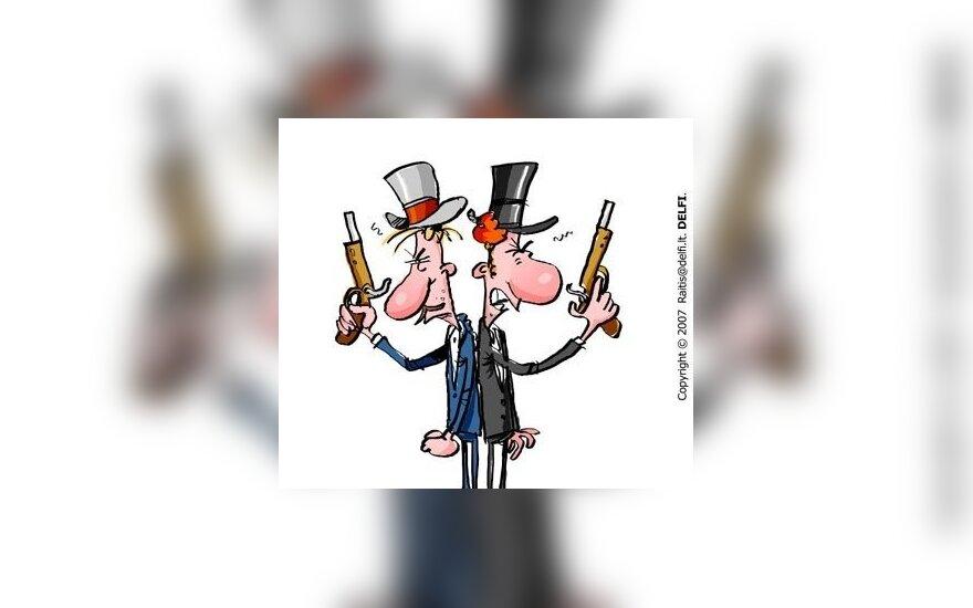 Konfliktas, dvikova - karikatūra
