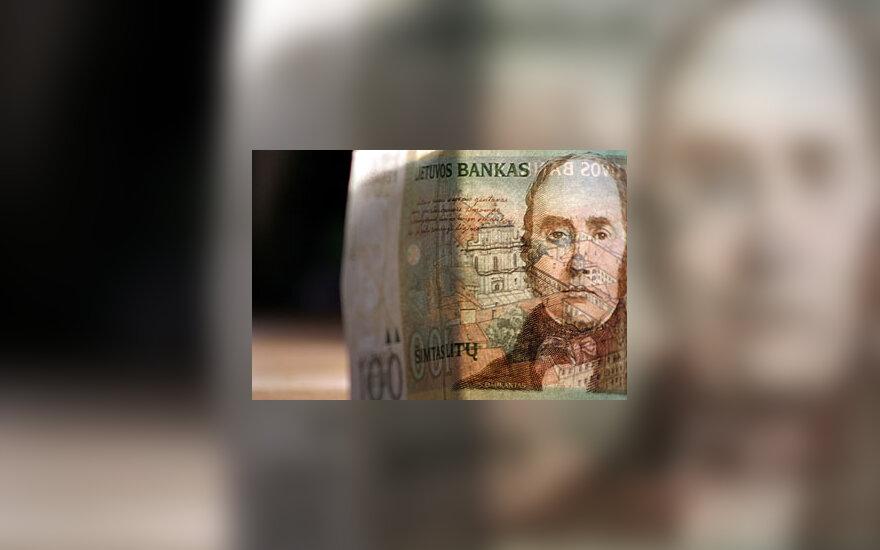 Litai, pinigai, banknotas, šimtas