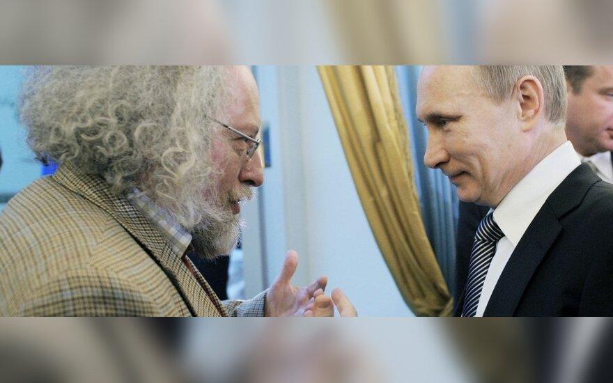 """""""Echo Moskvy"""" vyriausiasis redaktorius Aleksejus Venediktovas ir Vladimiras Putinas"""