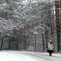 Moteris eina miško keliu