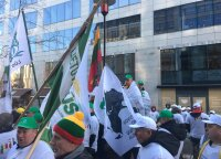 Lietuvos ūkininkai protestuoja Briuselyje