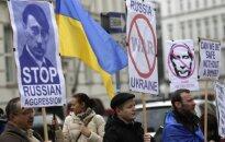 Protesto prieš Rusijos agresiją dalyviai