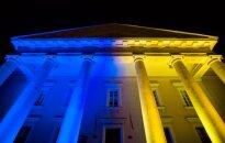 Ukrainian flag colours on Vilnius Town Hall