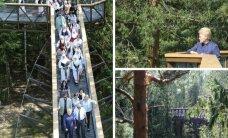 Medžių lajų take apsilankiusi D. Grybauskaitė davė patarimą bijantiems aukščio