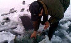 Brakonierius net ir žiemą žvejoja su tinklais