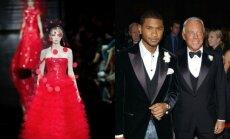 Armani Prive modelis ir Giogio Armani (d.) su dainininku Usheriu