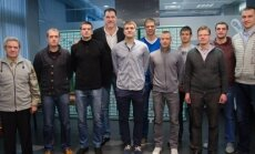 A. Sabonis ir V. Garastas susitiko su pasaulio 19-mečių čempionato bronzos medalių laimėtojais (J. Klėmano nuotr.)